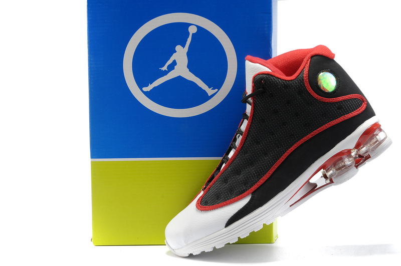 Comfortable Air Cushion Jordan 13 Black White Red