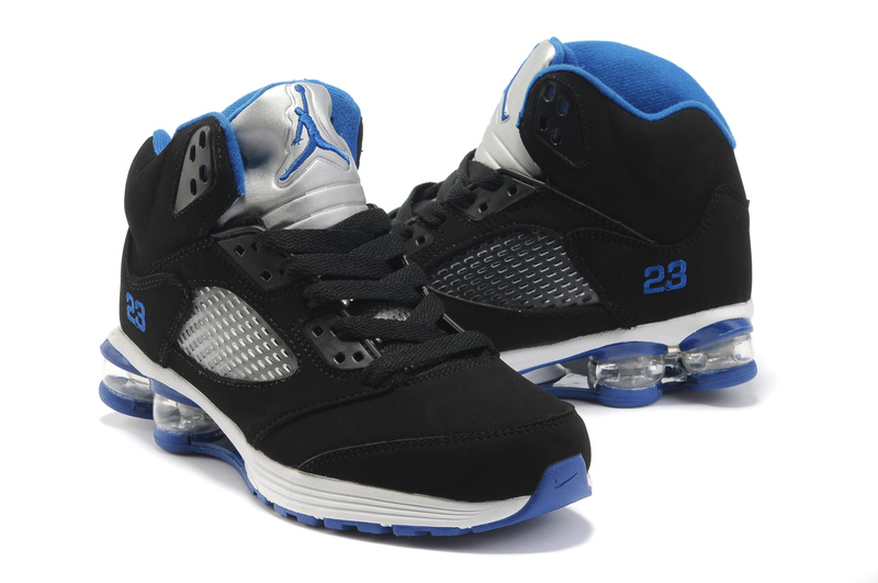 Comfortable Air Cushion Jordan 5 Black White Blue
