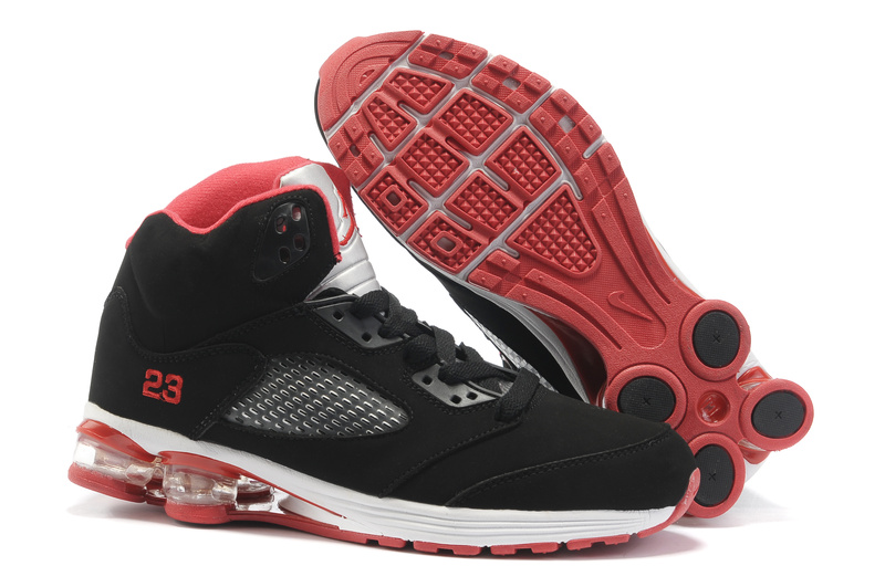 Comfortable Air Cushion Jordan 5 Black White Red