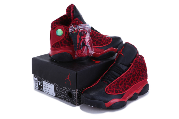 2013 Air Jordan 13 Leopard Print Black Red Shoes