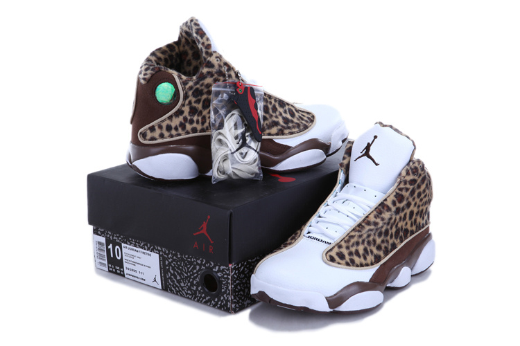 2013 Air Jordan 13 Leopard Print White Coffe Shoes