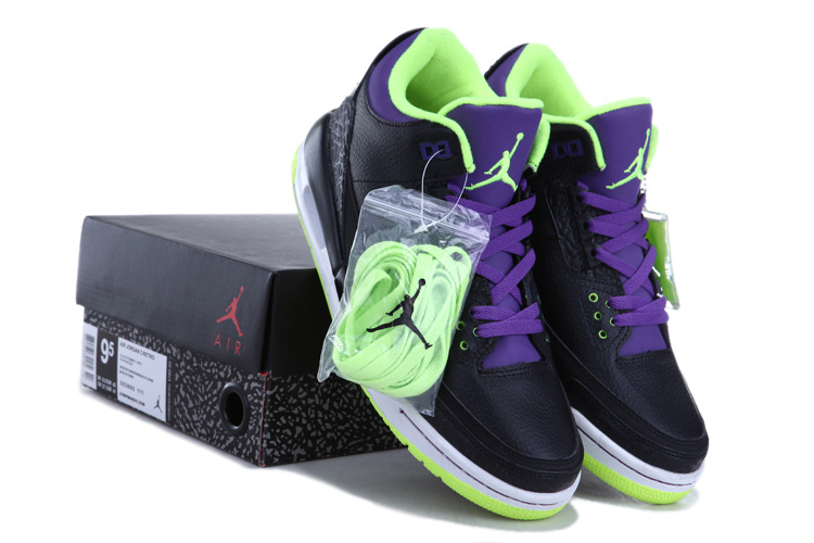 New Air Jordan 3 Black Green Purple Shoes