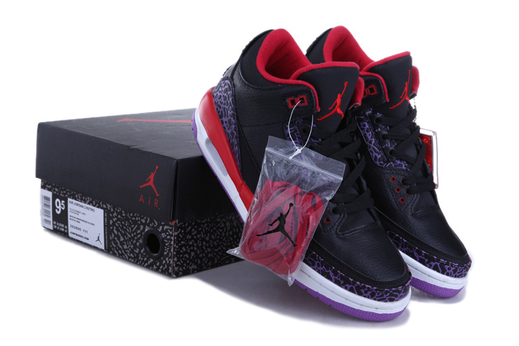 New Air Jordan 3 Black Red White Shoes