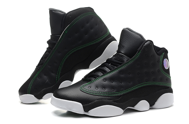 2014 Air Jordan 13 Retro Black Green White Shoes