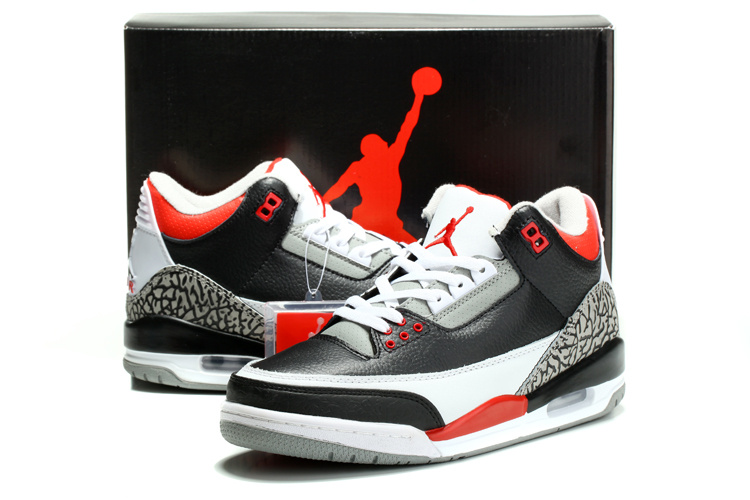 2014 Air Jordan Retro 3 Black White Red Cement Shoes