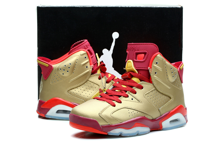 2014 Air Jordan Retro 6 Gold Red Shoes