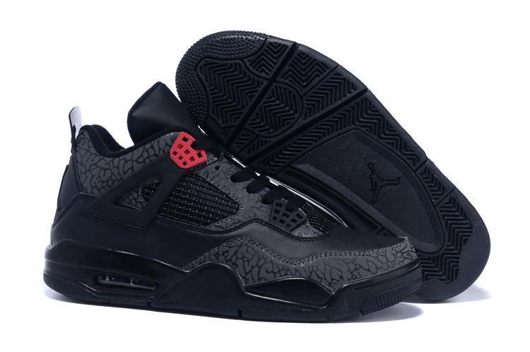 2015 Air Jordan 4 Follow Print Black Red Shoes