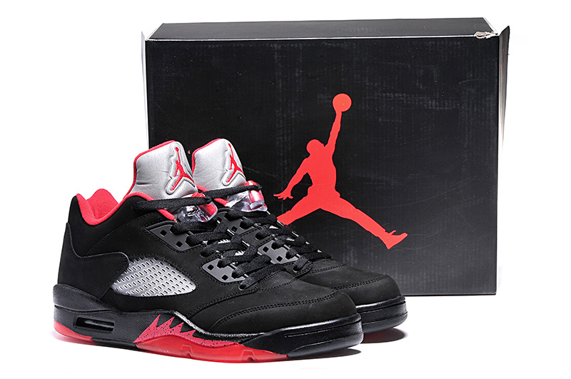 Ai Jordan 5 Shoes Low Black Red