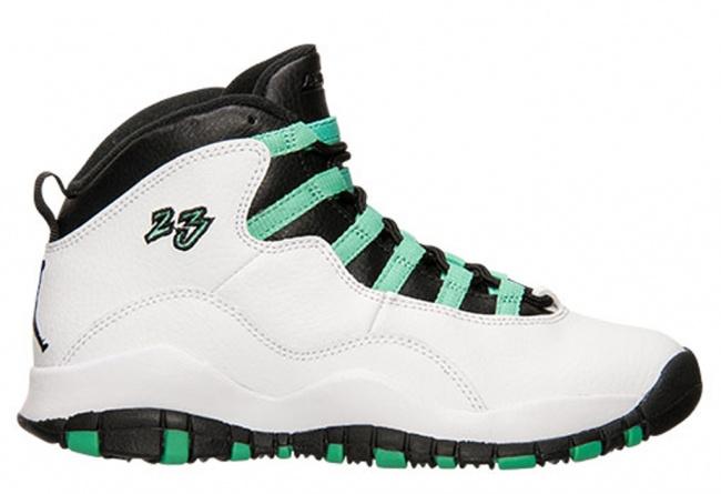 Air Jordan 10 White Green Black Black Shoes For Women