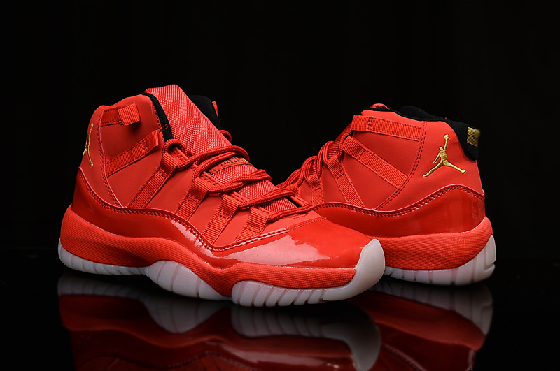 2015 New Air Jordan 11 Shoes Hot Red Yellow Logo