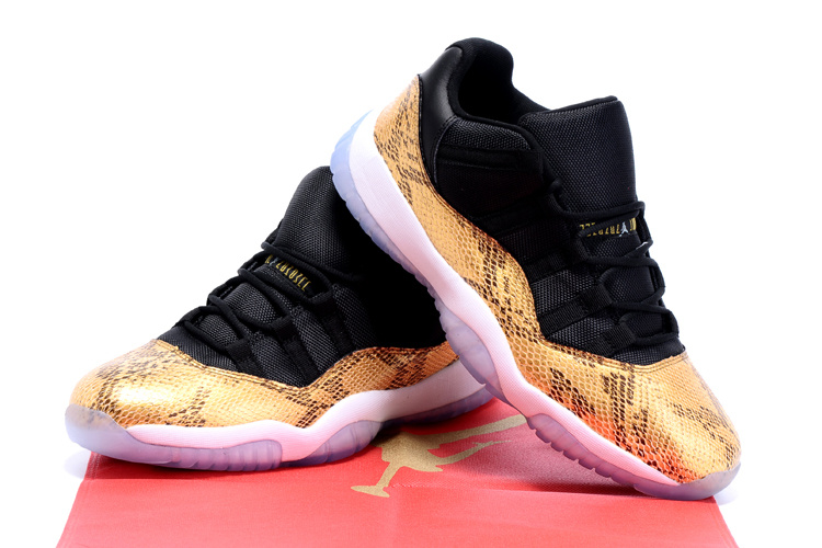Air Jordan 11 Shoes Black Gold Snakeskin