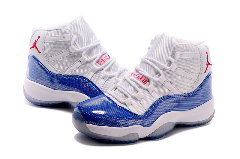 2015 Air Jordan 11 Shoes White Blue For Women
