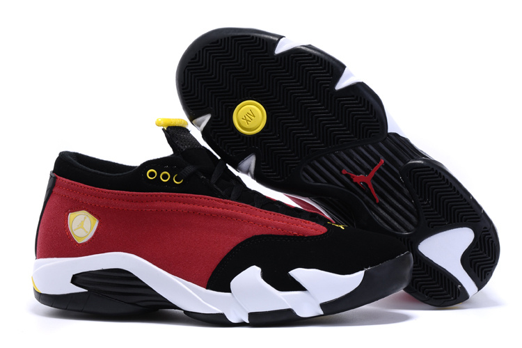Air Jordan 14 Low Shoes Red Black White Yellow
