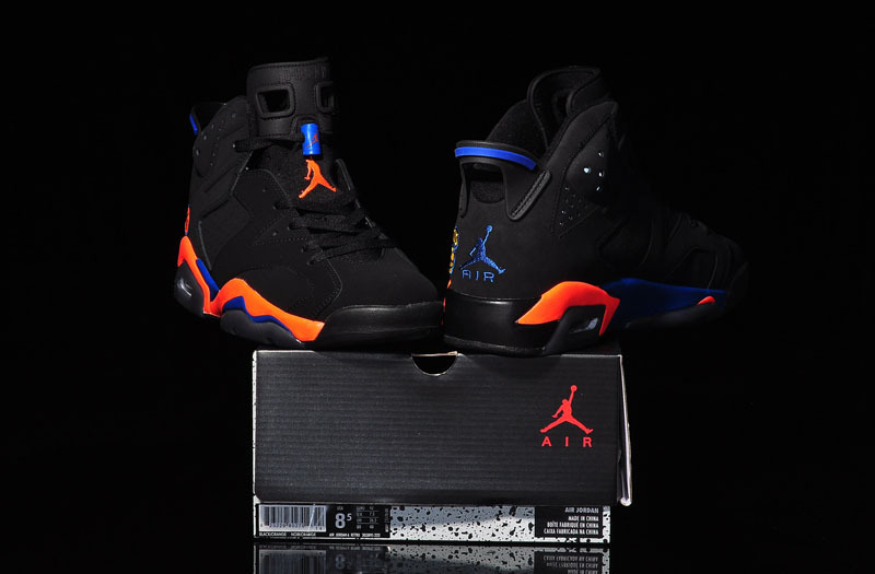 2015 Jordan 6 Knicks World Cup Black Orange Blue