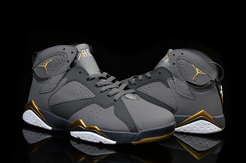 New Air Jordan 7 Shoe Grey Gold