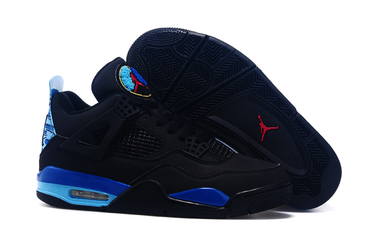 New Air Jordan 4 And 8 Black Blue Red Shoes