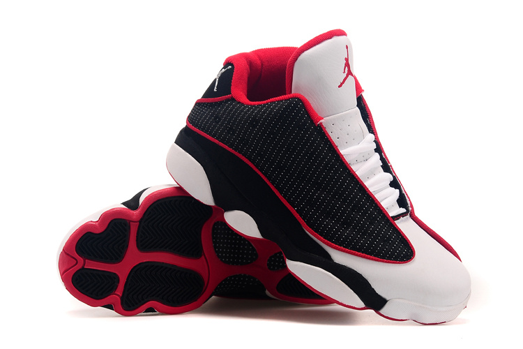 2015 Air Jordan 13 Low Black White Red Shoes