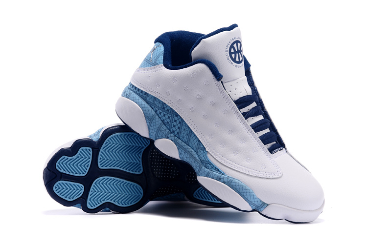 2015 Air Jordan 13 Low White Blue Shoes