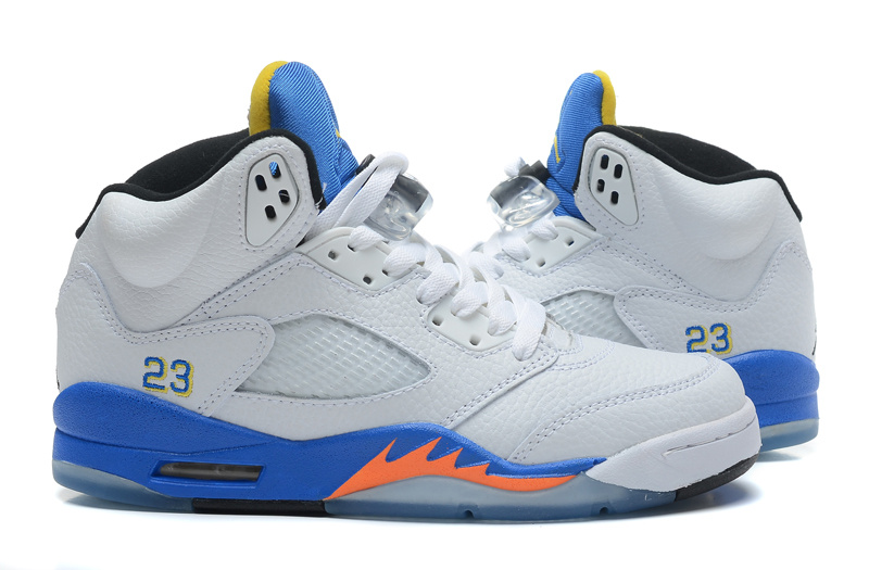 2015 Air Jordan 5 Retro White Blue Orange Shoes