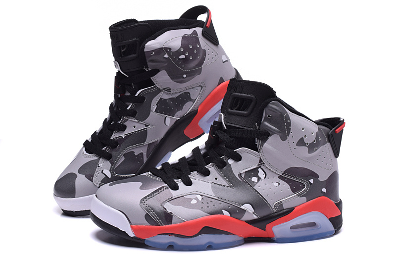 2015 Air Jordan 6 Lover Army Grey Red Black Shoes