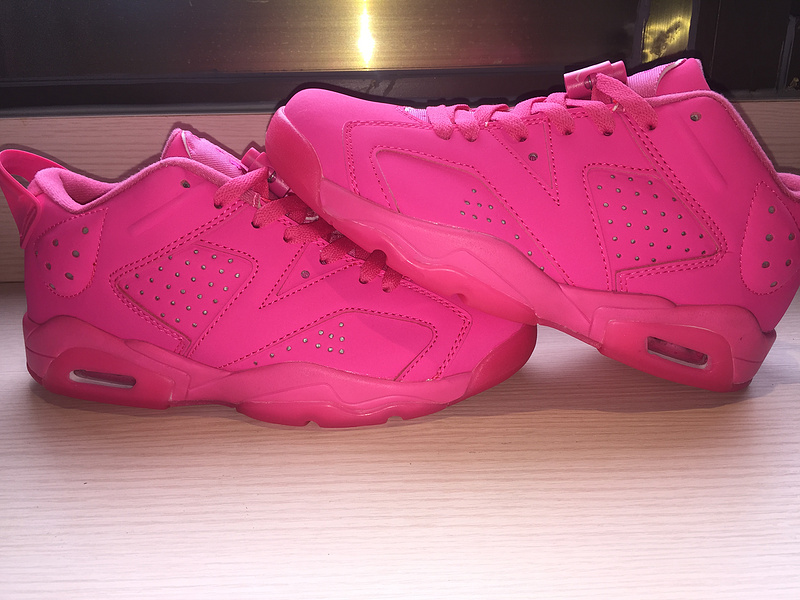 2015 Air Jordan 6 Low All Pink Women Shoes