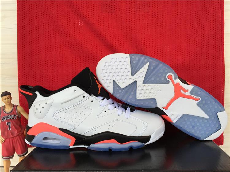 2015 Air Jordan 6 Low White Black Red Shoes