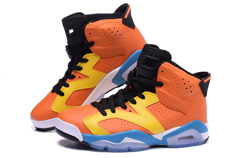 2015 Air Jordan 6 OG Orange Yellow Blue Shoes