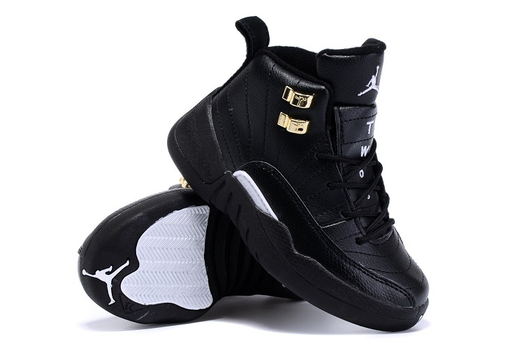 New Air Jordan 12 Retro All Black Gold Kids Shoes