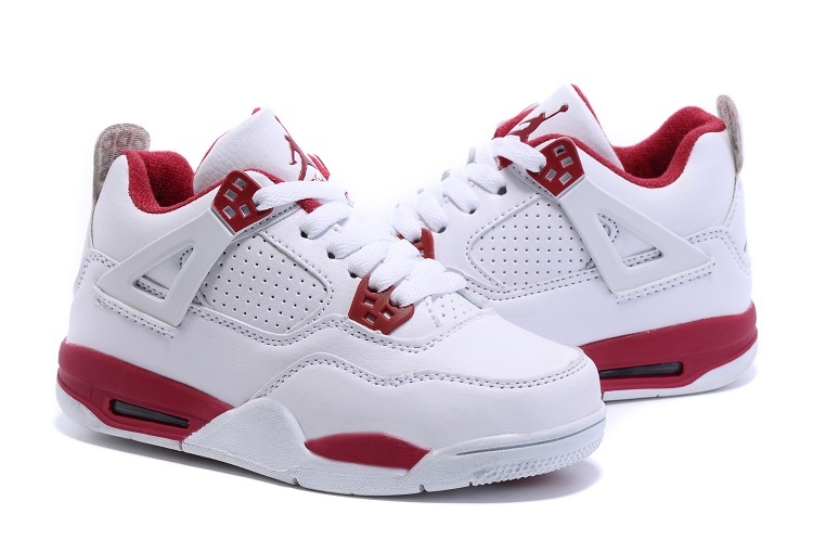 New Air Jordan 4 Retro White Red Kids Shoes
