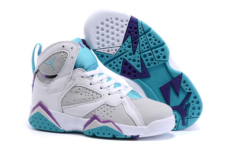 New Air Jordan 7 Retro White Grey Baby Blue Kids Shoes