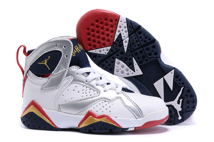 New Air Jordan 7 Retro White Silver Red Black Kids Shoes