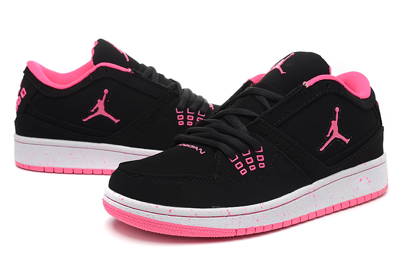 2015 Air Jordan 1 Flight Low Black Red Shoes