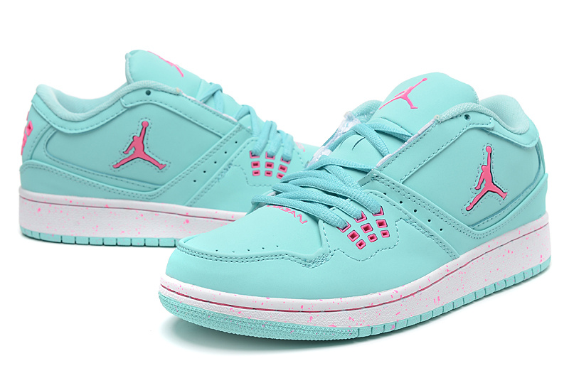 2015 Air Jordan 1 Flight Low Green Pink Shoes