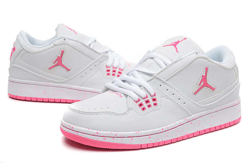 2015 Air Jordan 1 Flight Low White Pink Shoes