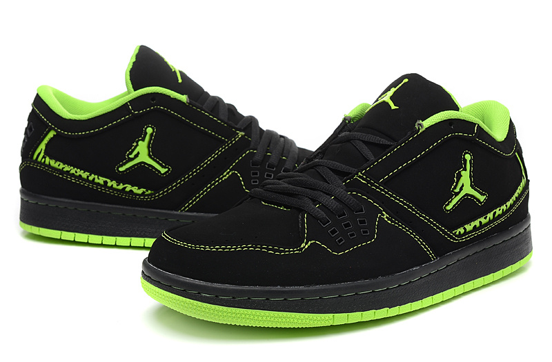 2015 Air Jordan 1 Low Black Green Shoes