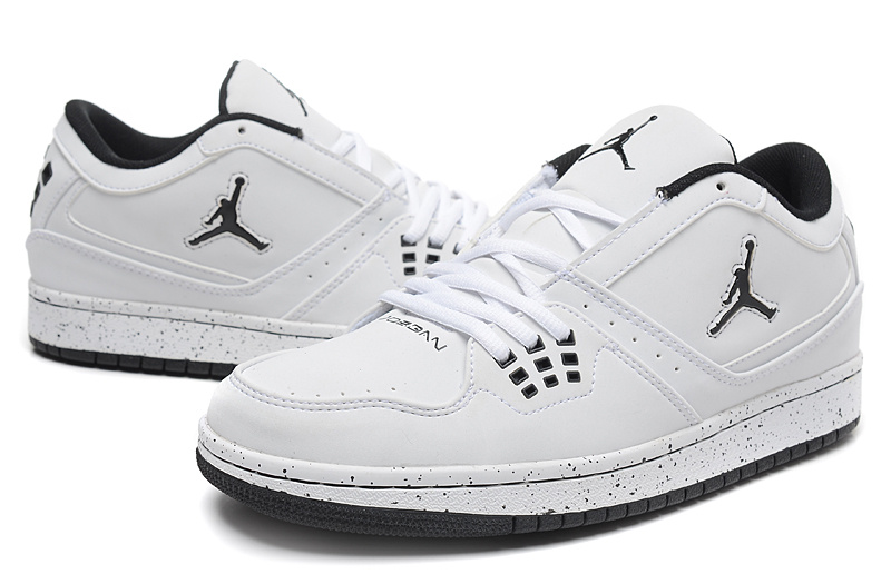 2015 Air Jordan 1 Low White Black Jumpman Shoes