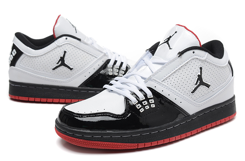 2015 Air Jordan 1 Low White Black Red Shoes