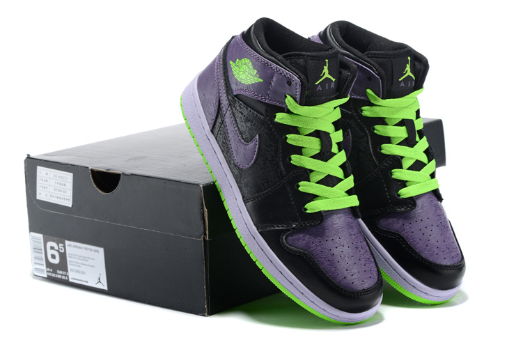 2015 Air Jordan 1 Retro Purple Black Green Shoes