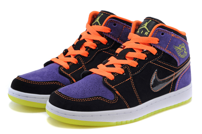 2015 Air Jordan 1 Retro Purple Black Orange Shoes