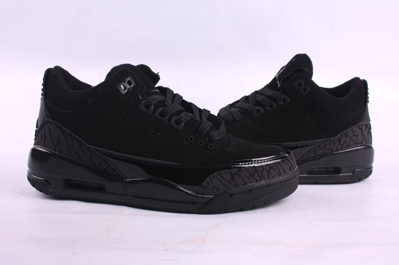 2015 Air Jordan 3 Retro All Black Women Shoes