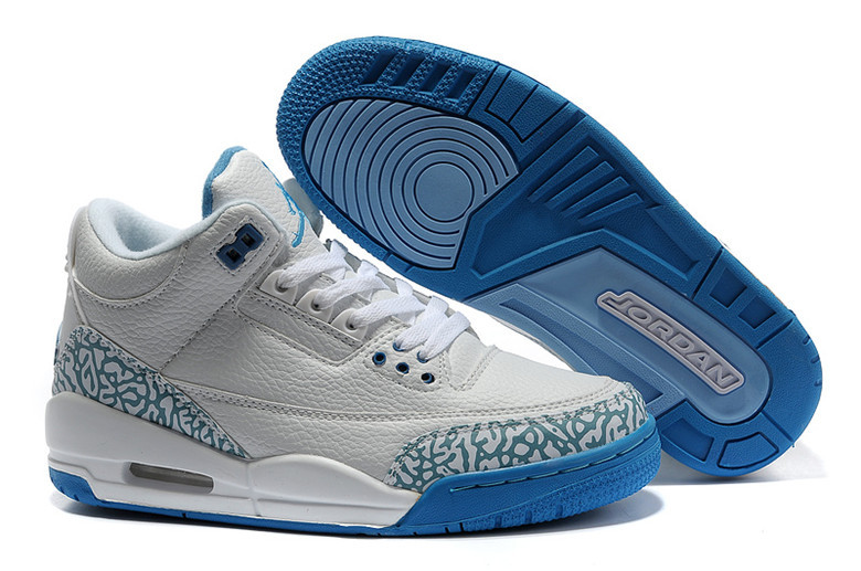 2015 Air Jordan 3 Retro Grey Blue Lover Shoes