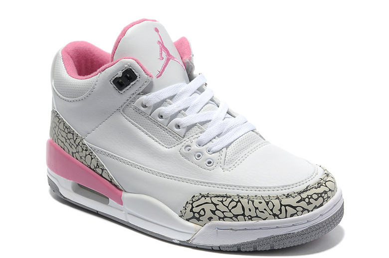2015 Air Jordan 3 Retro White Cement Grey Pink Women Shoes