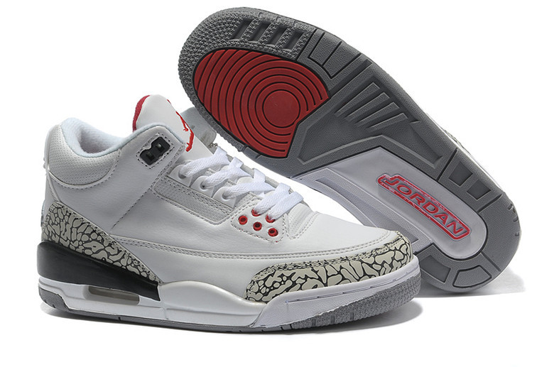 2015 Air Jordan 3 Retro White Cement Grey Red Women Shoes