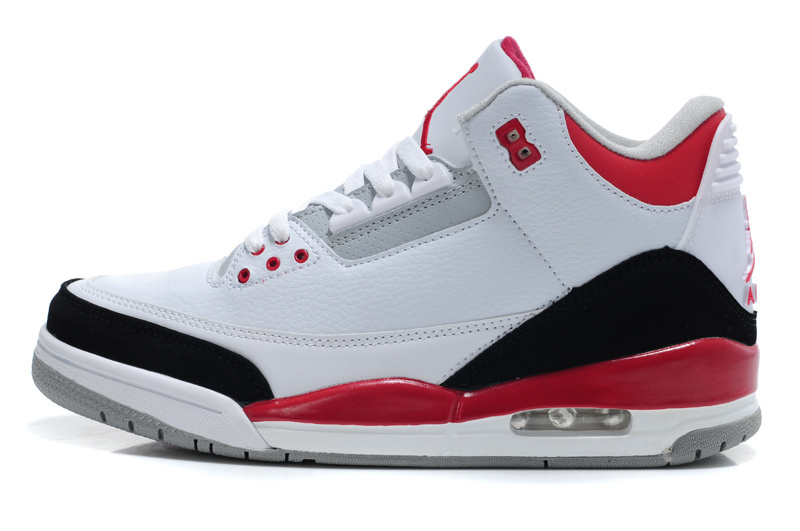 2015 Air Jordan 3 Retro White Red Black Women Shoes