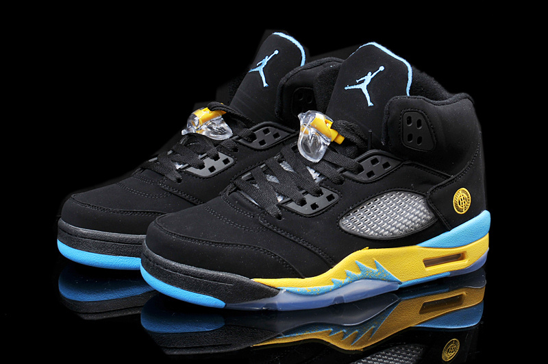 2015 Air Jordan 5 Retro Black Yellow Blue