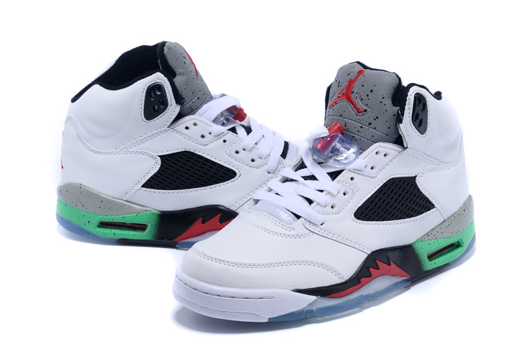 2015 Air Jordan 5 Retro White Black Red Green Shoes