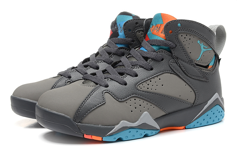 2015 Air Jordan 7 Retro Grey Black Blue Shoes