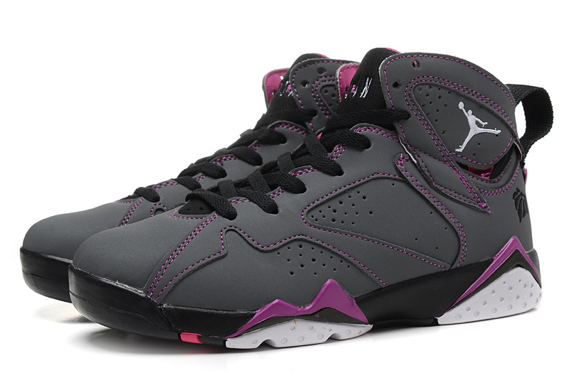 2015 Air Jordan 7 Retro Grey Black Purple Women Shoes
