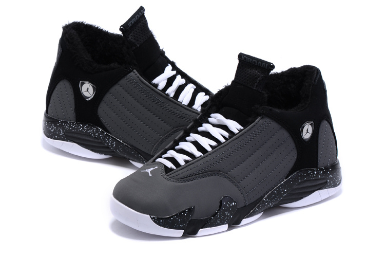2015 Lover Air Jordan 14 Retro Wool Black Grey Women Shoes