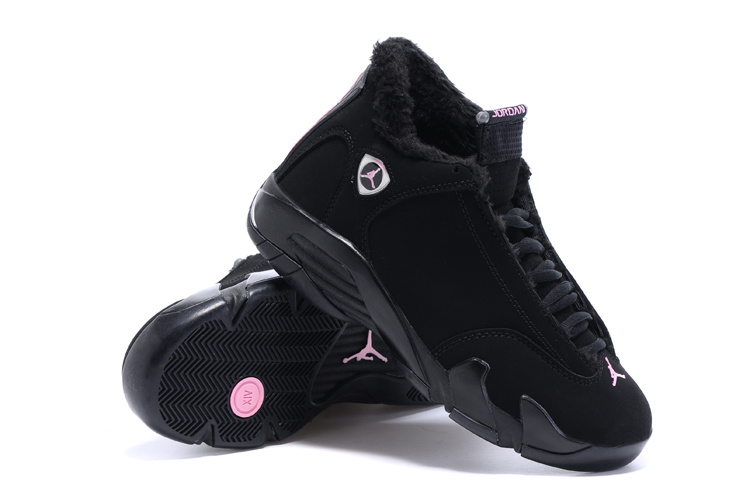 2015 Air Jordan 14 Retro Wool All Black Women Shoes